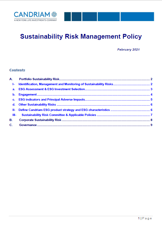 Candriam Sustainability Risk Management Policy