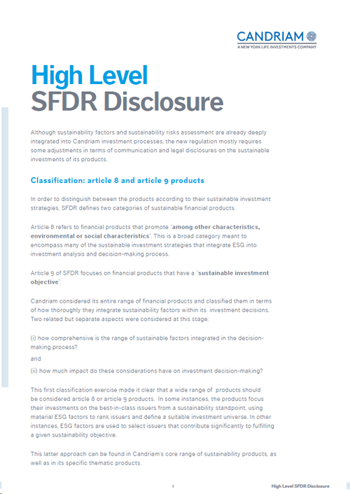 High Level SFDR Disclosure